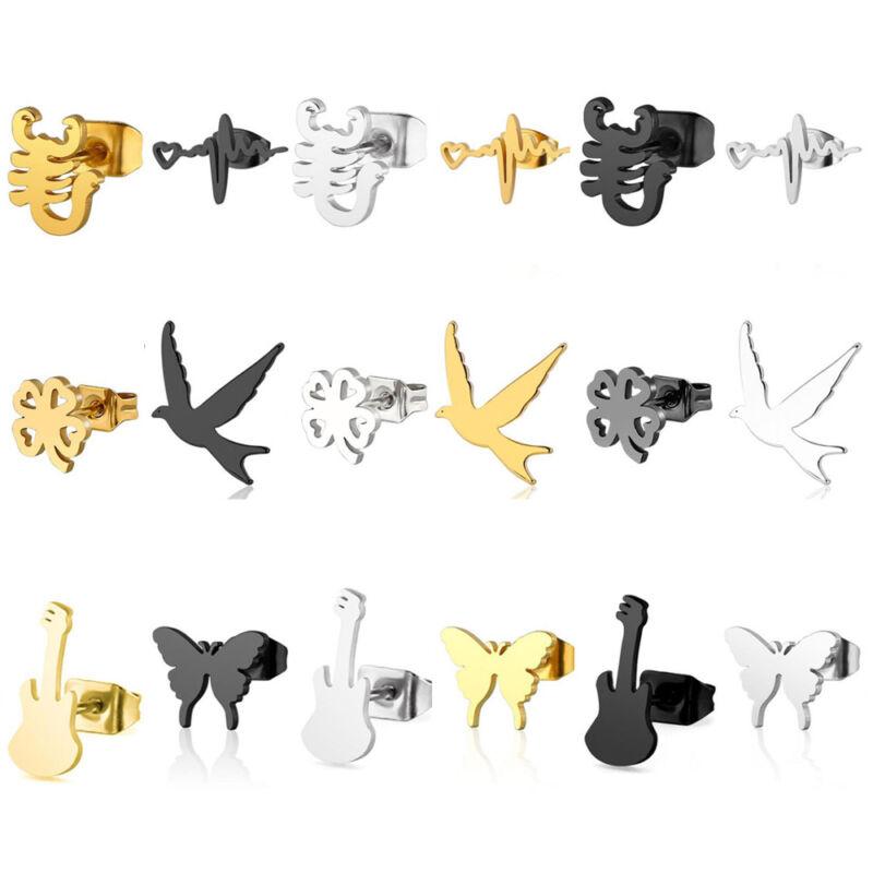 1 Pair Women Fashion Stainless Steel Ear Stud Earrings Jewel
