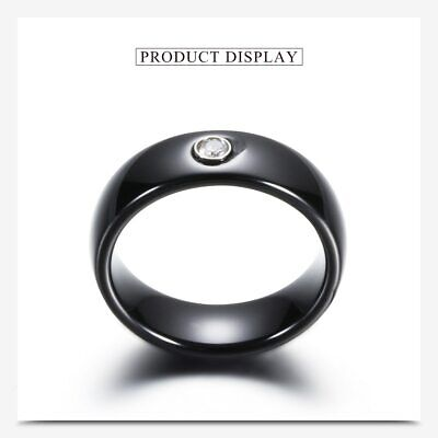 ZARD New Black Ceramic Ring with Cubic Zirconia Engagement Wedding Promise Band Black Zirconia Ceramic