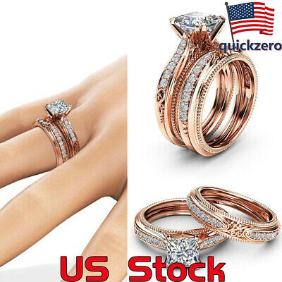 14k Rose Gold Diamond Set Ring Party Wedding Personality Gift Engagement Promise ()