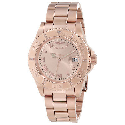 Invicta 12821 Women's Pro Diver Rose Gold Dial Rose Gold Steel Diamond Watch