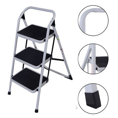 Protable 3 Step Ladder Folding Non Slip Safety Tread Heavy Duty Industrial Home