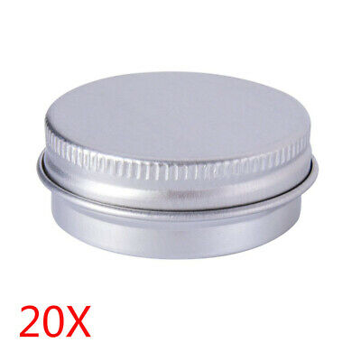 Aluminum Tins (20X 10ml Durable Silver Aluminum Cosmetic Pot Lip Balm Jar Containers Empty)