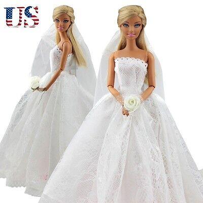 Fashion Wedding Dress Bridal Veil Princess Gown Clothes Outfit For Barbie Dolls