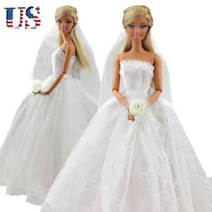 dress bridal veil princess gown clothes outfit for barbie dolls