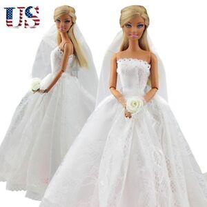dress bridal veil princess gown clothes outfit for barbie dolls