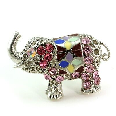 Pink Baby Elephant Ring Silver Tone Color Stone Crystal Cocktail Ladies Jewelry ()