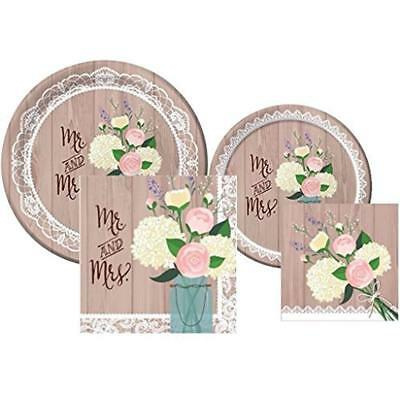 Rustic Wedding Bridal Shower Plates And Napkins Deluxe Party Pack For 16](Wedding Shower Plates And Napkins)