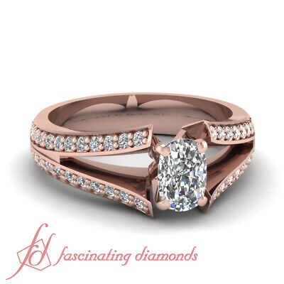 1.25 Ct Diamond Split Band Pave Set Ring With Cushion Cut And Round Accents GIA
