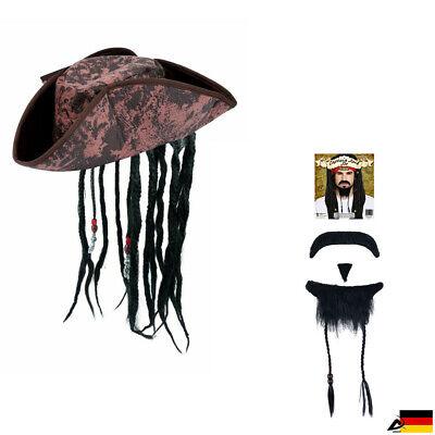 Piraten Bart Set Piraten Hut Seeräuber Fasching Jack Schnurrbart Kinnbart Perlen