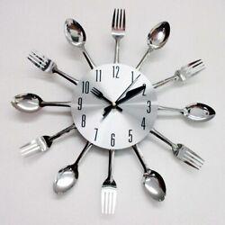 Modern Design Silver Cutlery Kitchen Utensil Clock Spoon Fork Knife Bendable New