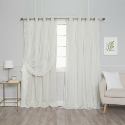 Best Home Fashion 108 in. L Marry Me Lace Overlay Blackout Curtain Panel