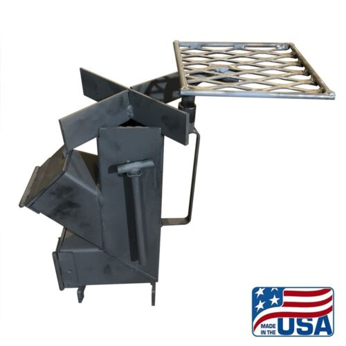 American Made Camping/Survival Rocket Stove(With Rotating Grill Top)