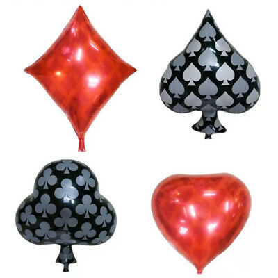 4PCS Playing Card Theme Foil Balloons Party Casino Poker Birthday Decoration AM5 - Casino Party Theme