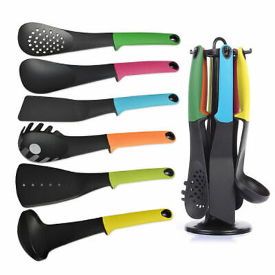 6PC Best Quality Nylon Kitchen Tool Multicolor Utensil Set With Rotating Stand (Best Set With Stands)