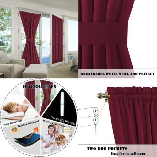 H.VERSAILTEX Blackout Drapes Door Curtains Rod Pocket Therma