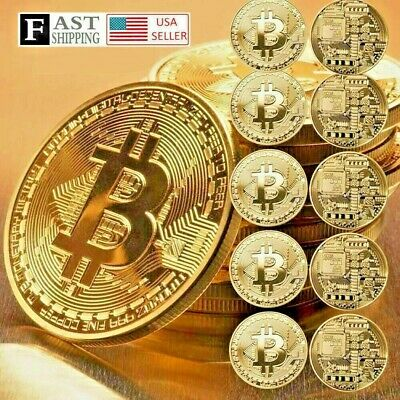 10 Pcs Gold Bitcoin Commemorative 2019 New Collectors Gold Plated Bit Coin