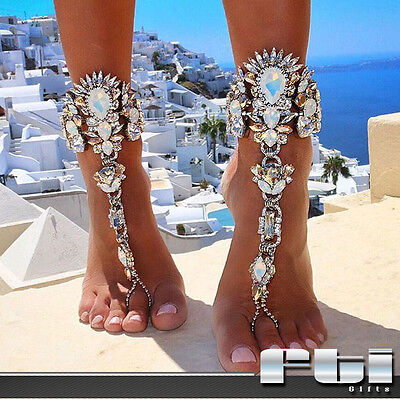 1Pc Women Crystal Rhinestone Foot Chain Anklet Bracelet Barefoot Sandal Jewelry