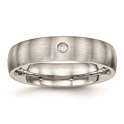 Chisel Stainless Steel Brushed Half Round CZ Wedding Band ()