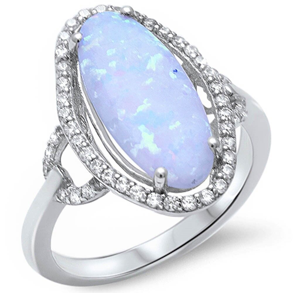 Pear Shape White Fire Opal /& Cz  .925 Sterling Silver Ring Sizes 5-11