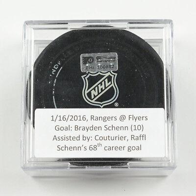 2015-16 Brayden Schenn Philadelphia Flyers Game-Used Goal-Scored Puck -Couturier