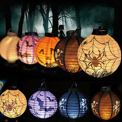 LED Paper Halloween Lantern Pumpkin Spider Bat Hanging Light Lamp Party Decor AU