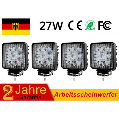 4X 27W LED Arbeitsscheinwerfer Scheinwerfer Offroad Bagger 12V 24V Baustahler