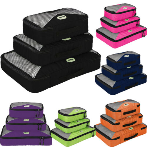 3pcs Waterproof Travel Packing Organizer Cubes Clothes Storage Bags Luggage Set Color:Green