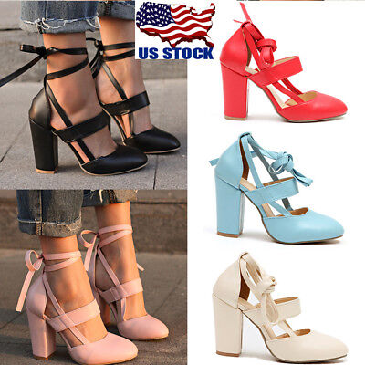 Fashion Women Pointed-toe Ankle Strap Lace up Chunky High Heel Shoes Sandals USA
