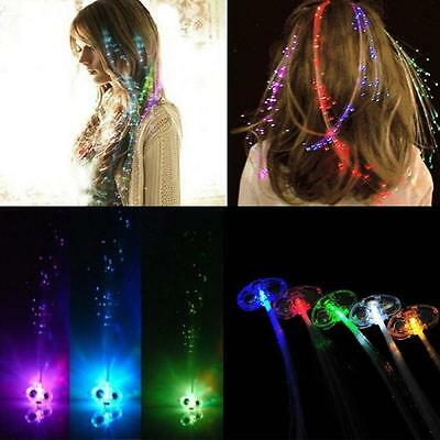 1/6X Halloween Birthday Party Gift Bags Fiber Optic Hair Multi Color LED Lights