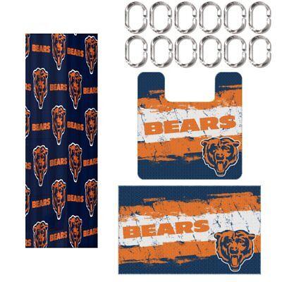Chicago Bears NFL 15 Piece Rug Shower Curtain Bath (Chicago Bears Nfl Rug)
