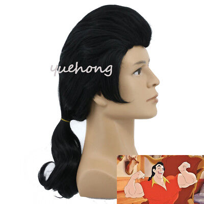 Beauty And The Beast Gaston Cosplay Wig Long Wavy Black Costume Hair Wigs](Beauty And The Beast Gaston Costume)