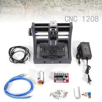 1208 Cnc Machine Router 2-axis Engraving Pcb Wood Carving Diy Milling Kit 12v