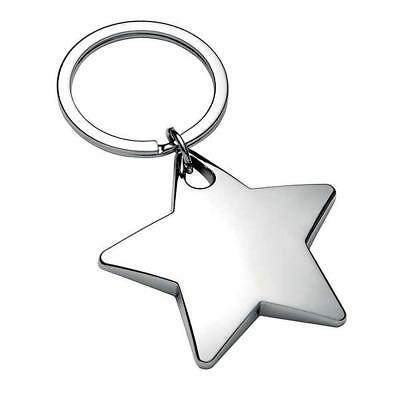 Personalised Chunky High Polished Chrome Star Keyring/Keychain CAN BE ENGRAVED