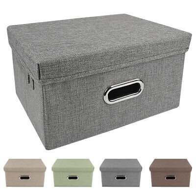 Storage Bins Collapsible Stackable Linen Fabric Cubes Boxes Containers -