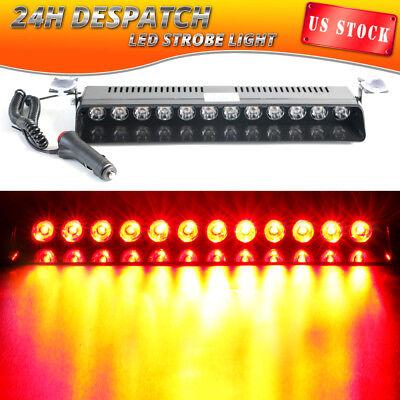 12 LED Emergency Warning Strobe Light Bar Flashing Car Beacon Visor RED Fog Lamp