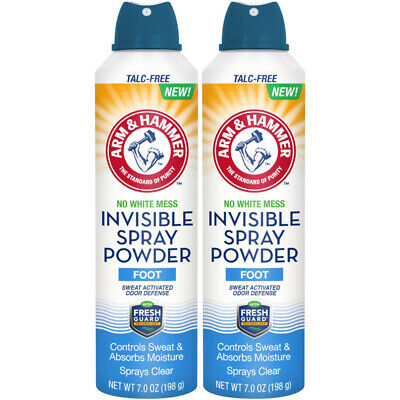 7 Ounce White Pack - 2 Pack Arm & Hammer No White Mess Invisible Spray Foot Powder, 7 Ounces Each
