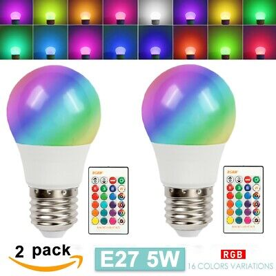 2pcs 16 Color Changing Light Bulbs with Remote Dimmable LED Light Bulb E27 Base Color Changing Led Bulb
