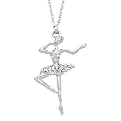 Ballerina necklaceebay ballerina ballet dancer charm pendant necklace sparkling crystal 16 chain mozeypictures Image collections
