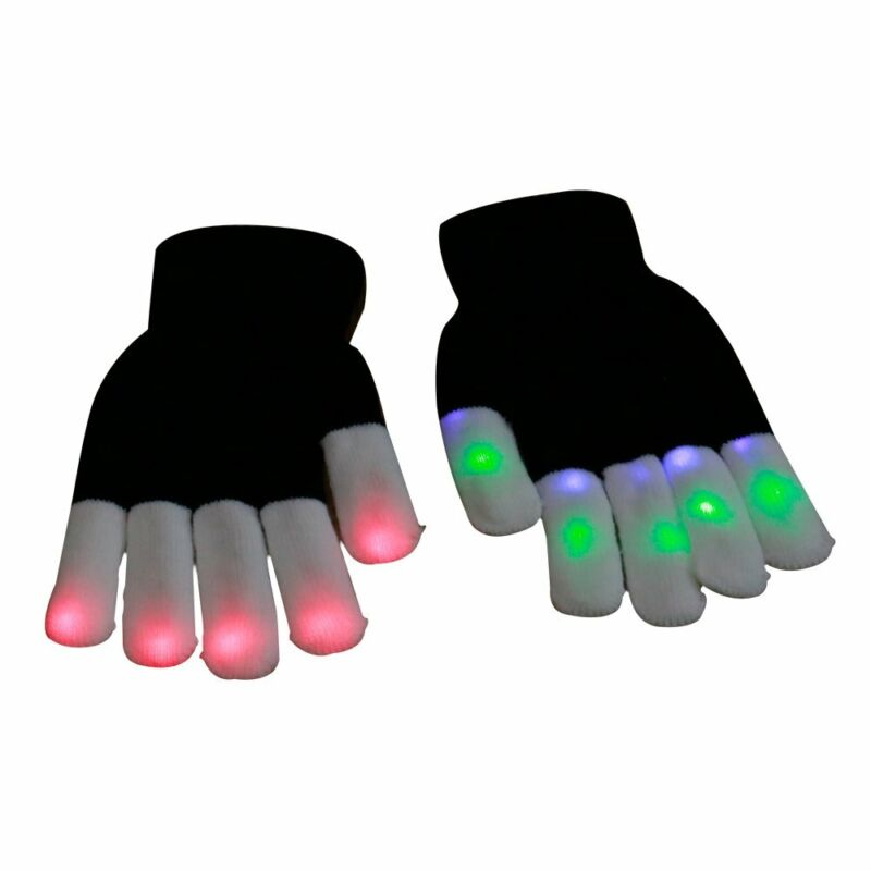 A Pair LED Rave Flashing Gloves 7 Mode Light Up Finger Lighting  Xmas  Party