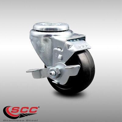 Ss Hard Rubber Swivel Bolt Hole Caster W3.5 Wheel Brake 285 Lbs.caster