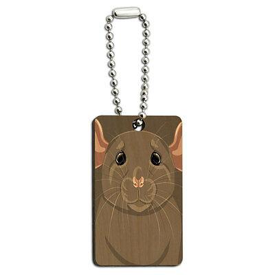 Dumbo Rat - Rat Dumbo Fancy Gray - Pet Mouse Wood Wooden Rectangle Key Chain