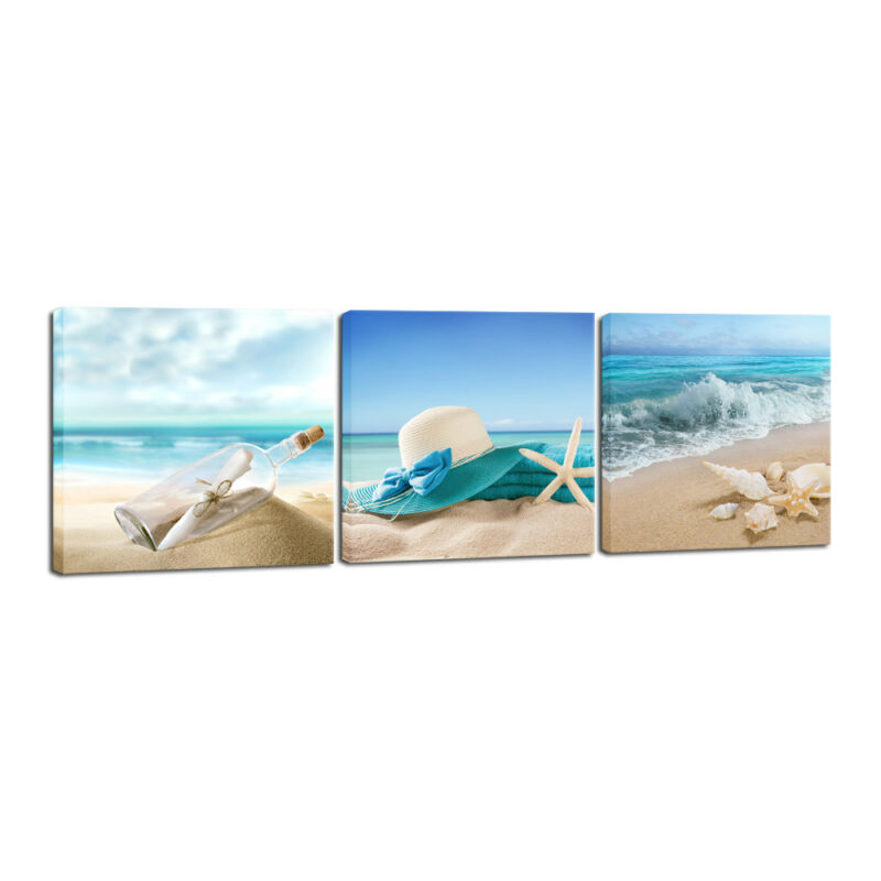 Canvas Print Painting Picture Home Decor Wall Art Blue Sea Beach Landscape Frame