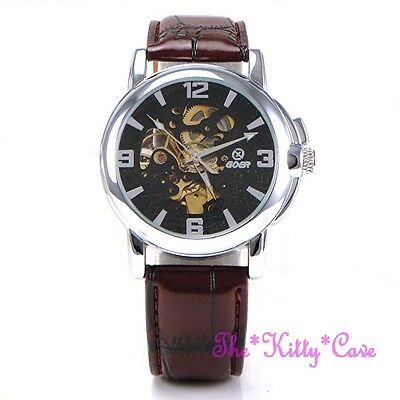 Automatic Mechanical Skeleton Steampunk Silver Brown Leather Wind-Up Wrist Watch