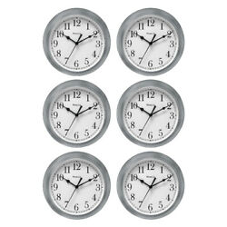 Westclox Wall Clock Simplicity Analog Round Home Office Clock 46984 Silver, 6-PK