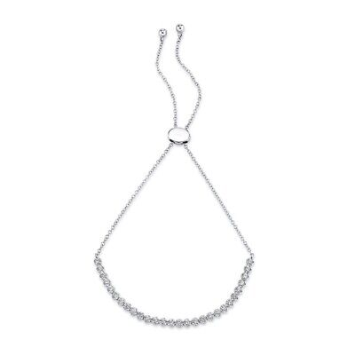 Diamante Bisel Montura Tenis Bolo Pulsera 14k Oro Blanco Redondo Natural 0.31ct