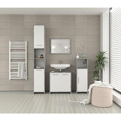 VICCO Badmöbel Set KIKO Grau Beton - Spiegel Waschtisch Unterschrank Badschrank