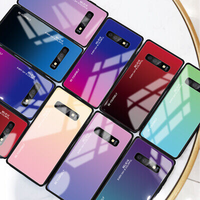 Gradient Tempered GLASS BACK Hybrid Case Cover For Samsung S8 S9 S10 Plus Note9