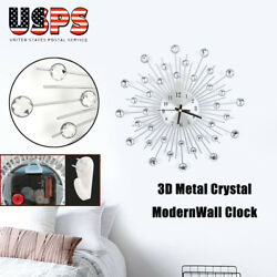 3D Wall Clock Metal Crystal Modern Home Decor Silent Clock Large for Room Office