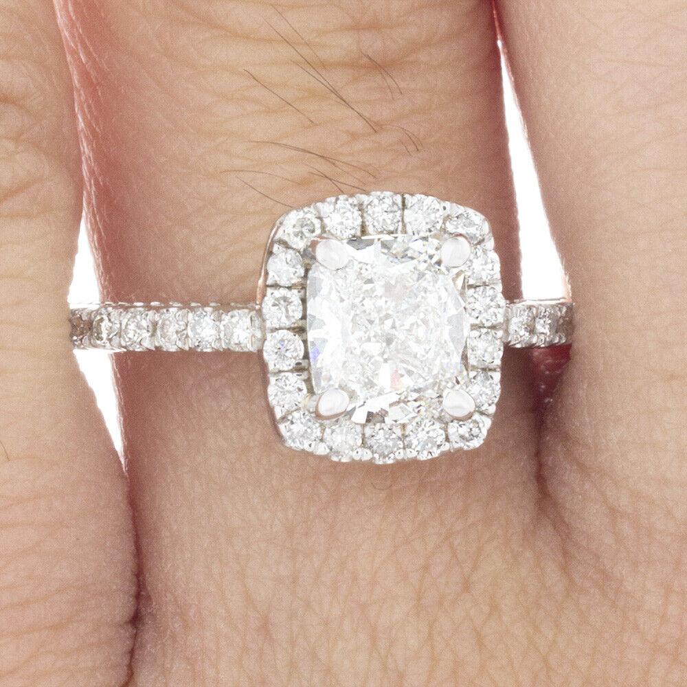 GIA Certified Cushion Cut Diamond Engagement Ring 1.77 carat 18k White Gold 4