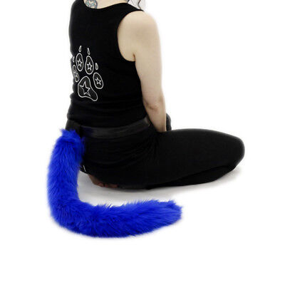 PAWSTAR Blue Furry Kitty Cat Tail - Halloween Costume Royal Made USA [BL]3500 - Cat Tail Halloween
